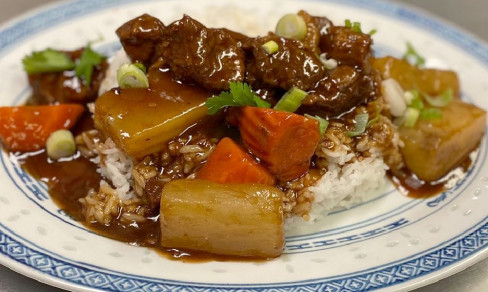 HK curry braised beef on rice